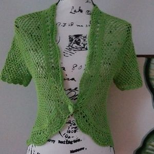 Spense Kelly Green Open Crochet Crop Shrug